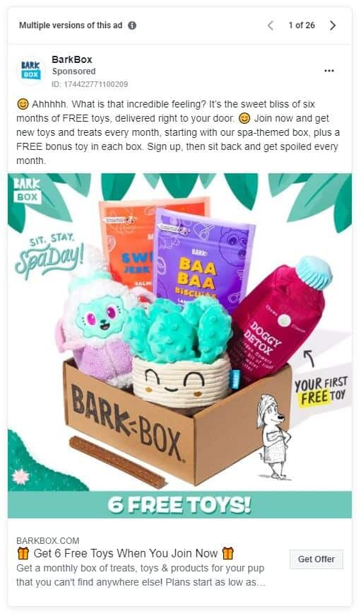 BarkBox - Ecommerce Facebook Ad Examples