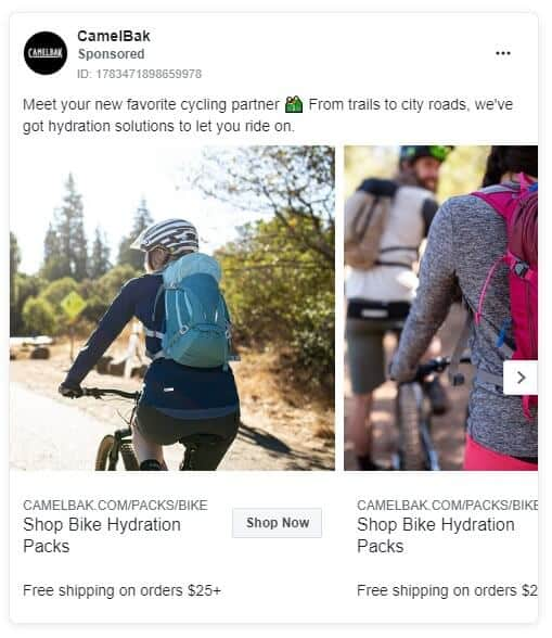 CamelBak - Ecommerce Facebook Ad Examples