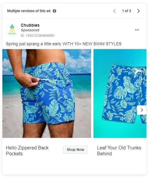 Chubbies - Ecommerce Facebook Ad Examples