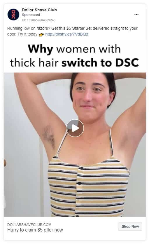 Dollar Shave Club - Ecommerce Facebook Ad Examples