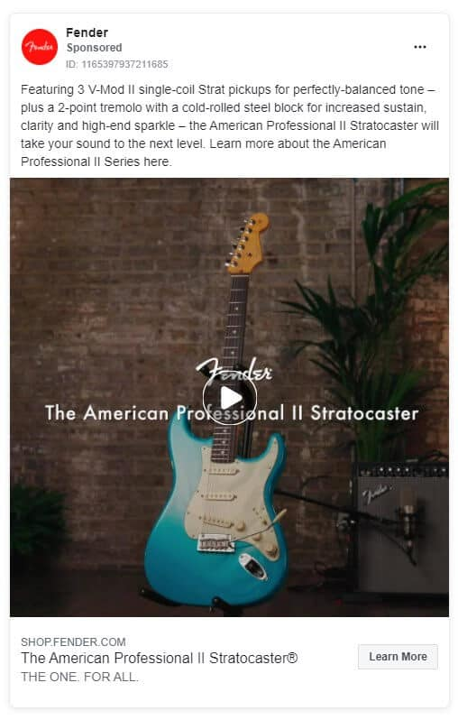 Fender - Ecommerce Facebook Ad Examples