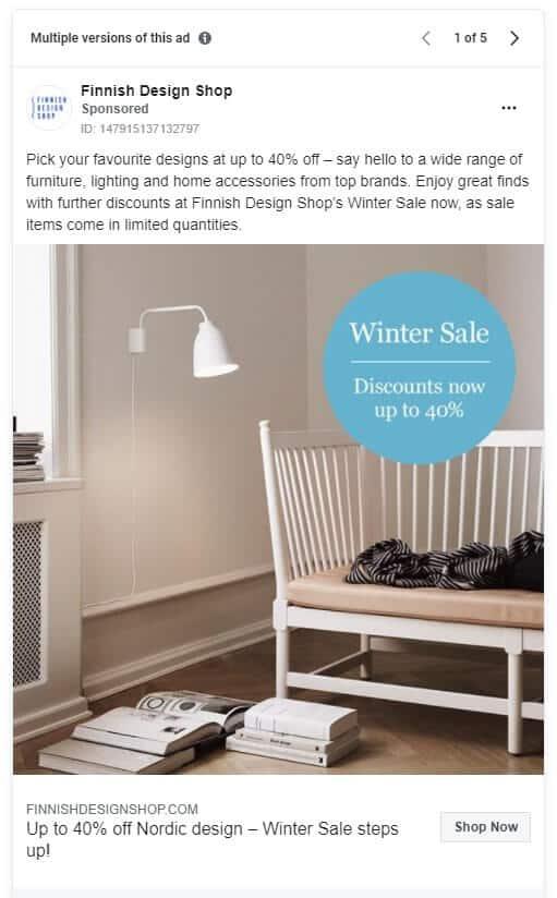 Finnish Design Shop - Ecommerce Facebook Ad Examples