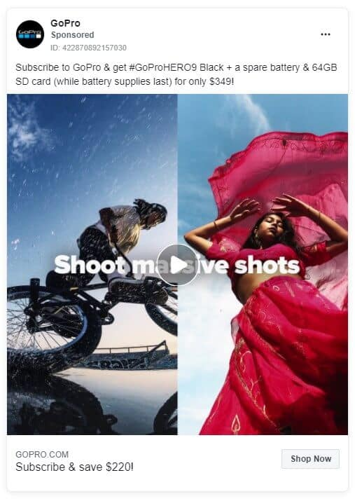 GoPro - Ecommerce Facebook Ad Examples