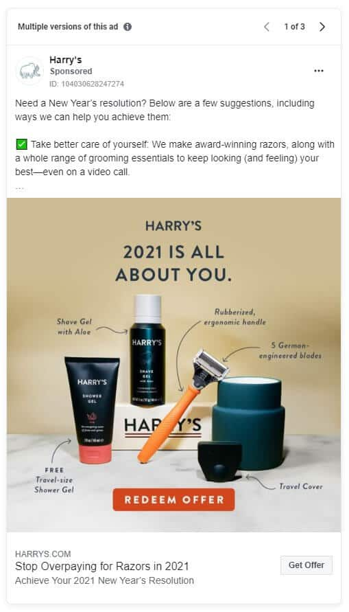 Harry's - Ecommerce Facebook Ad Examples