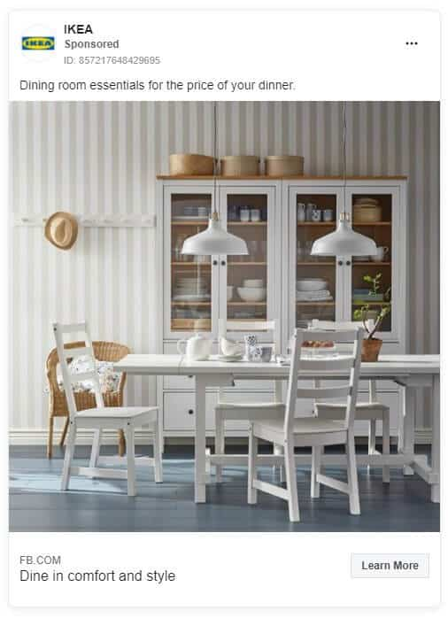 Ikea - Ecommerce Facebook Ad Examples
