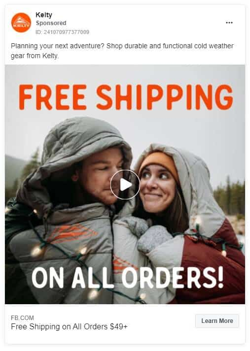 Kelty - Ecommerce Facebook Ad Examples
