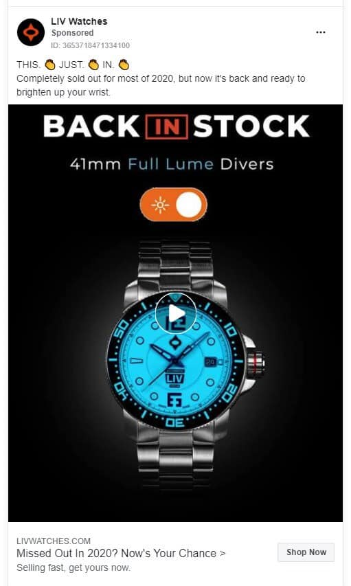 LIV Watches - Ecommerce Facebook Ad Examples