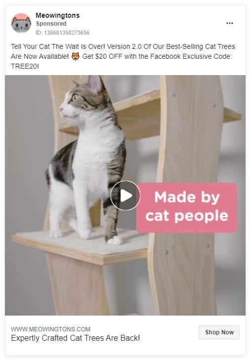 Meowingtons - Ecommerce Facebook Ad Examples
