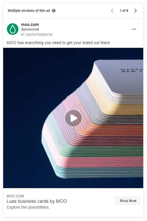 Moo - Ecommerce Facebook Ad Examples