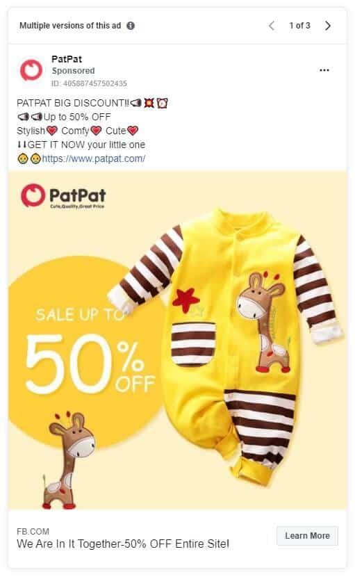 PatPat - Ecommerce Facebook Ad Examples