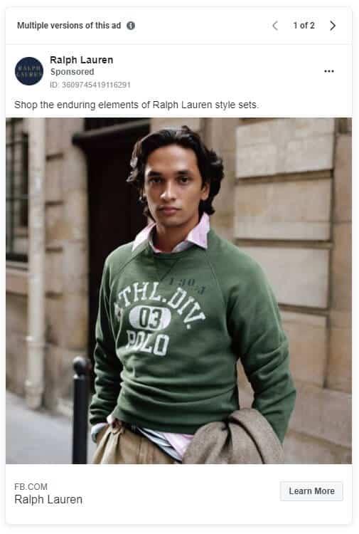 Ralph Lauren - Ecommerce Facebook Ad Examples