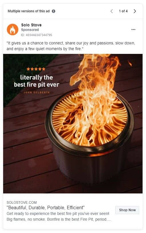 Solo Stove - Ecommerce Facebook Ad Examples