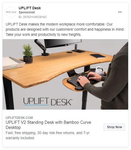 Uplift Desk - Ecommerce Facebook Ad Examples
