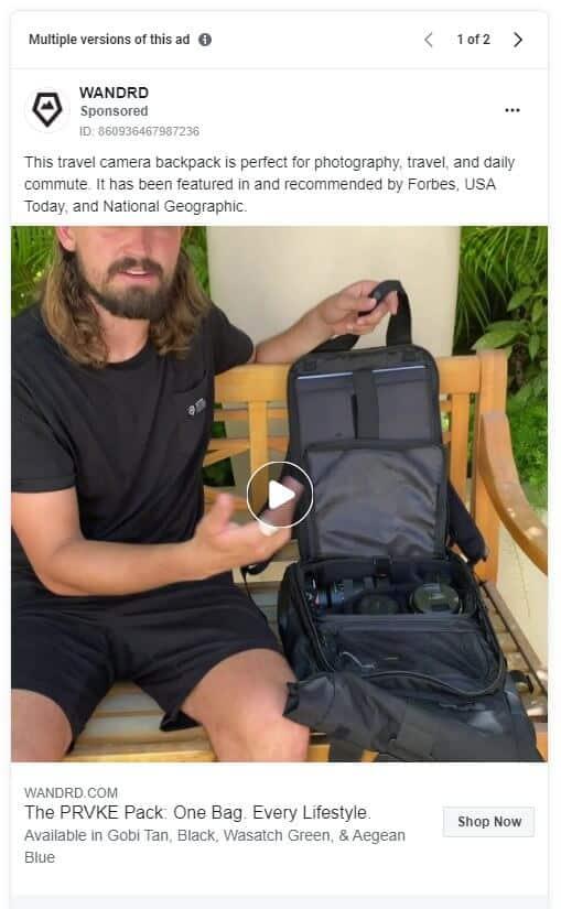 Wandrd - Ecommerce Facebook Ad Examples
