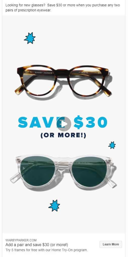 Warby Parker - Ecommerce Facebook Ad Examples