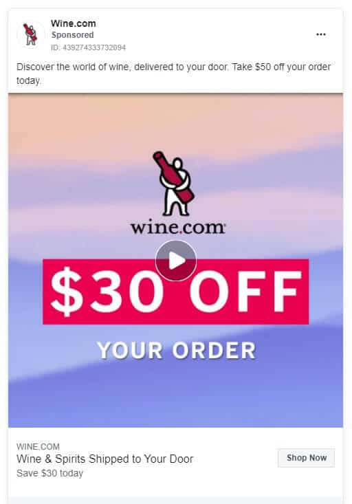 Wine.com - Ecommerce Facebook Ad Examples